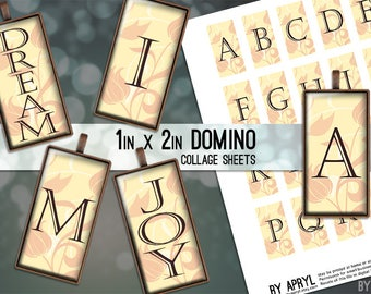 Monogram Initial Inspirational 1x2 Domino Collage Sheet Digital Images for Domino Pendants Magnets Scrapbooking Journaling JPG D0033