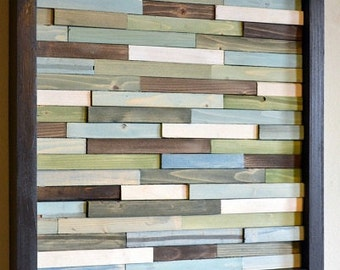 Wood Wall Art - 3D Art - Recycled Wood Art - 12 x 12 - Small Wall Art - greens, blues, grays, browns and white