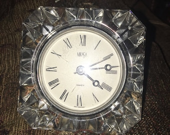 Vintage Mikasa Crystal Cut Glass Quartz Movement Table Clock. Made in West Germany. HEAVY!