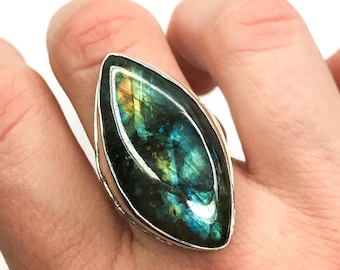 Handmade Rough-and-Ready Oversized Labradorite Ring in Sterling Silver