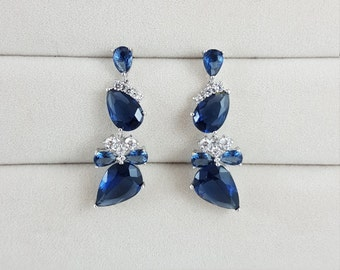 Blue Drop Earrings, Bridal Earrings, Cubic Zirconia Earrings, Wedding Earrings, Grad Jewelry, Party Jewelry, Bridal Jewelry, Prom Jewelry