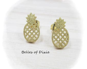 Pineapple Stud Earrings, Pineapple Post Earrings Pineapple Jewelry Earring Southern Gift Sorority Gift GOLD Pineapple Earring