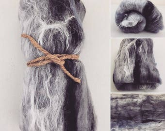 Grey Art Batt, Textured Art Batt, Shiny Batt, Spinning Fiber, Felting Fiber, Spinning Batt, Wool, Fiber, Fiber Batt, Roving, Textured Batt