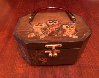 Vintage 1970s Wooden Box Bag / Wooden Box Purse - Decoupaged Owls