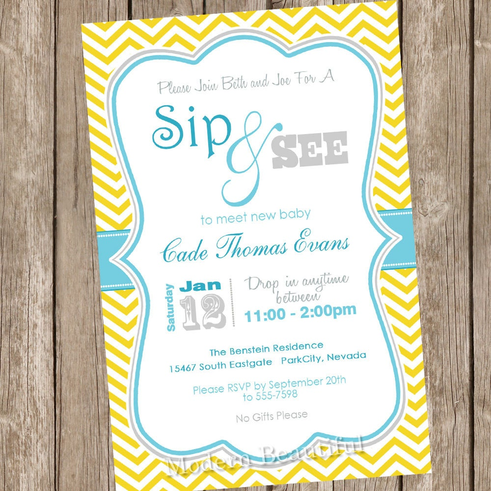 Neutral sip and see baby shower invitation yellow teal