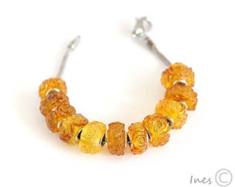 Baltic Amber Honey Bead, Engraved Roses, Charm Bead