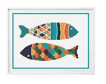 Fish Cross Stitch Pattern PDF ** instant Download ** - Folk Art Cross Stitch Fish
