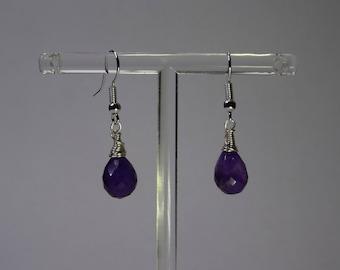 Natural, purple amethyst, faceted  peardrop earrings.