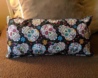 Sugar skull accent pillow, colorful Day of the Dead accent pillow
