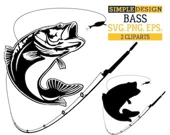 Bass SVG, Fishing SVG, Bass fishing SVG, Bass fish svg, Fishing hooks bass, Large mouth bass, Fish bass silhouette, Silhouette svg