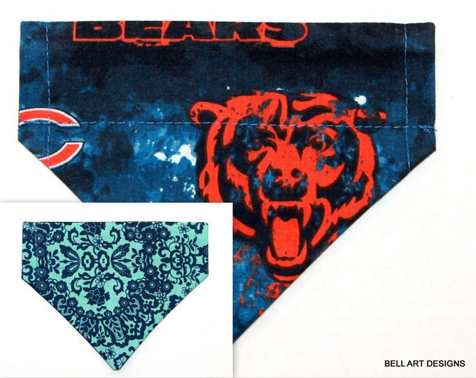 CHICAGO BEARS, Over the Collar ~ Reversible ~ Dog Pet Bandana ~ Bell Art Designs ~ Extra Small ~ 247