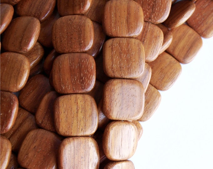 Wood Bead, Flat Square 16mm, Bayong - 8 Inch Strand (WDSQ-16BY)