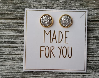 Silver and Gold Druzy Stud Earrings