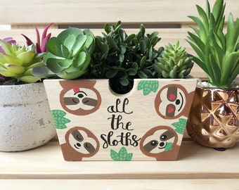 All the Sloths, Gift for Gardener, Sloth Lover Gift, Cute Succulent Planter, Decorative Bin, Rustic Planter Box, Garden Box, Wood Box, Sloth