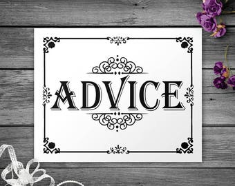 Black and White Printable Advice Wedding Sign, Baby Shower Advice Sign, Printable Black and White Decor, Wedding Decorations, DIY Sign