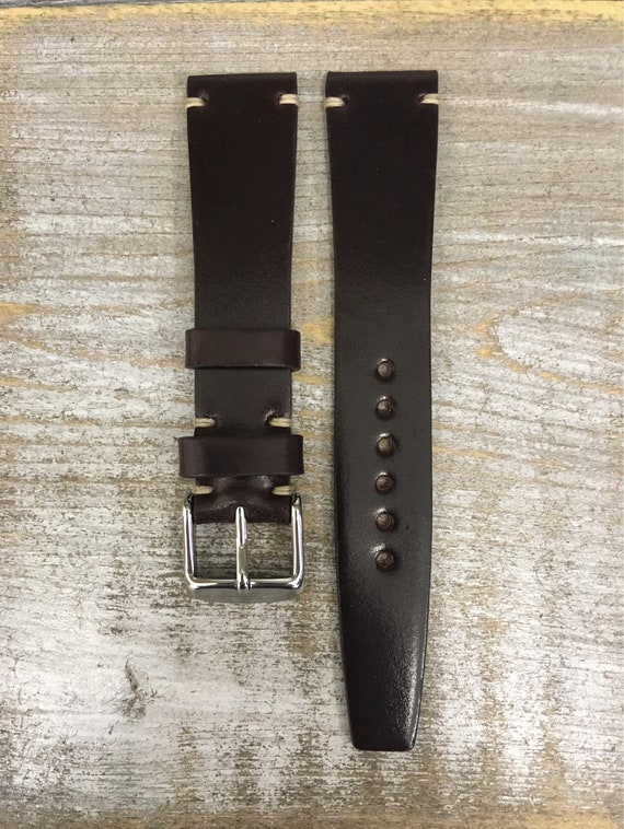 18/16mm Col #8 VTG style Horween Shell Cordovan watch band - simple side stitch