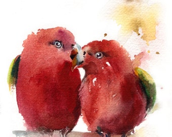 Red Lovebirds Painting, ORIGINAL Watercolor Painting, Red birds, Bird Painting, Birds Love Couple Painting by CanotStop