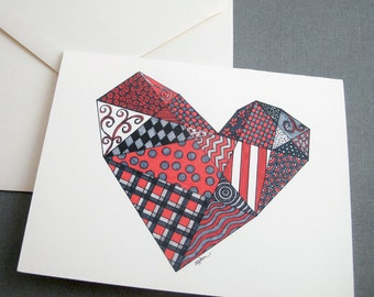 Heart Stationery Set - Set of 8 Blank Inside Card Set - Geometric Heart Valentines