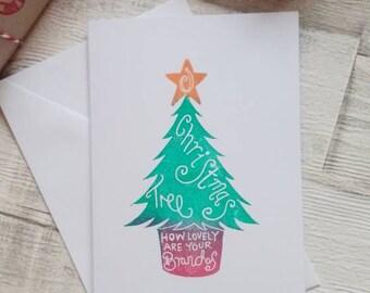 Christmas tree card - Christmas greeting card - Oh Christmas Tree -  Rustic Xmas Cards - Christmas card Set - seasons greetings card