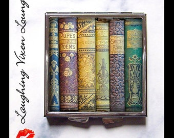 Vintage Books Pill Box - Book Lover's Gift - Literary Compact Mirror - Pill Case - Purse Mirror - Makeup Mirror - Style-D