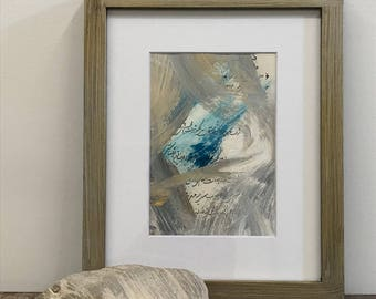 Original Abstract Painting, Ready to Frame, 8 x 10 Matting