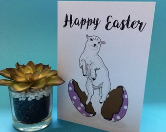 Happy Easter lamb Easter egg card