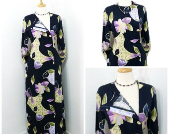 1960s Exotic Maxi dress by Designer Coat, Navy Blue Absrtact Print Cotton Dress Large