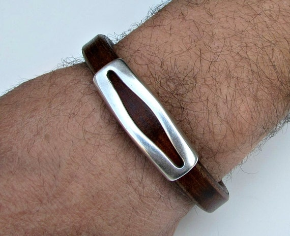 Mens Leather Bracelet Mens Leather Cuff Brown Black Antique Silver Plating Magnetic Clasp Customized On Your Wrist