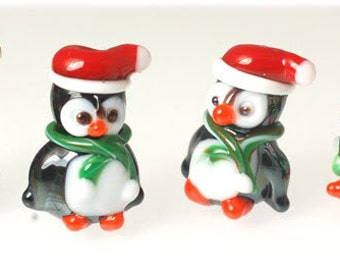 10 Handmade Lampwork Glass Beads --- Christmas Penguins