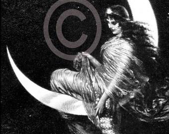 Moon Witch Vintage Halloween Postcard Digital Photograph Image E267