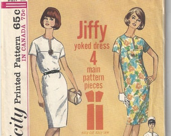 Vintage 60s Simplicity Sewing Pattern 5875 Size 12 Bust 32 Yoked Dress Uncut