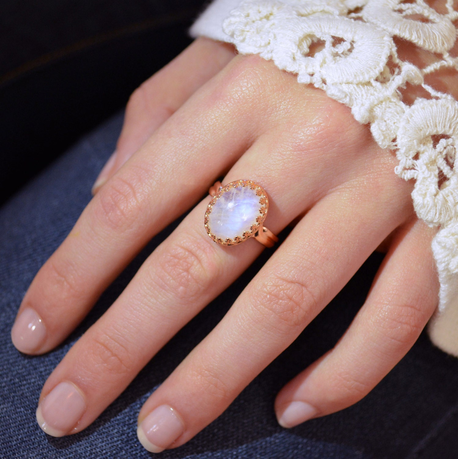 Moonstone Promise Ring Rose gold moonstone ring rainbow