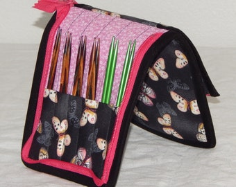 """12 pair capacity Interchangeable knitting needle crochet hook case for 3.5"""" to 6.25"""" in length to size 9 Butterflies"""