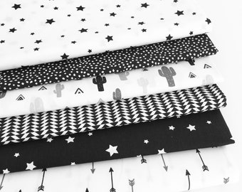 Monochrome fabric Collection - Fat Quarter Bundle 6 fabrics