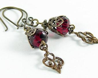 Fuchsia Fleur Drop Brass Earrings