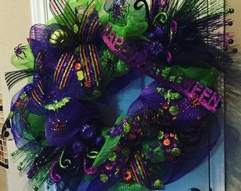 BIG Green and Purple Halloween Wreath