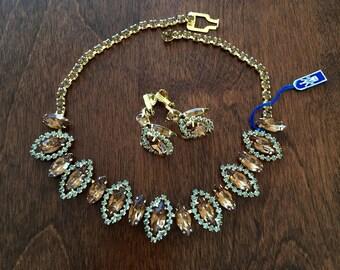 Weiss NWT Topaz Necklace Earrings/Weiss Topaz Necklace Earrings Set/Weiss Topaz Demi Parure/Vintage Weiss Topaz Rhinestone Necklace Earrings