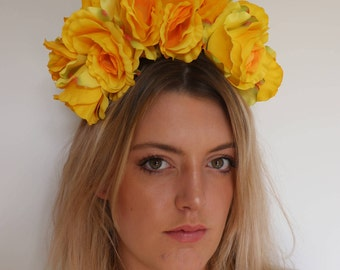 Yellow Rose Frida Flower Crown Headdress Festival Headpiece Fascinator Rose Crown, Floral Crown