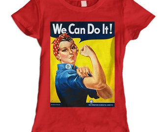 Rosie the Riveter We Can Do It Ladies T-Shirt (Red)