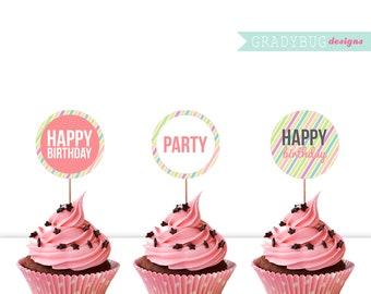 Happy Birthday Cupcake Toppers Printable  Cupcake Decorations  - Stripes INSTANT DOWNLOAD