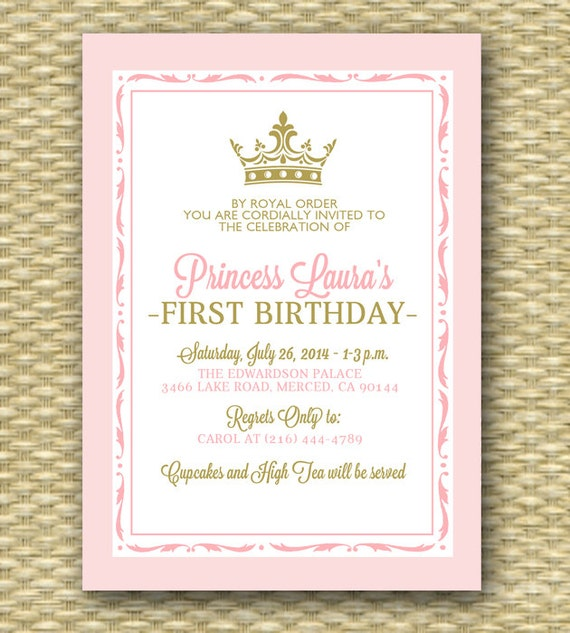 Ideal Pink and Gold Princess First Birthday Invitation Royal Baby PG06