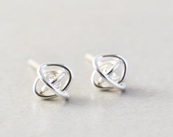 Sterling Knot Posts, Silver Post Earrings, 6mm Studs, Love Knots, Bridesmaid Gift, Handmade