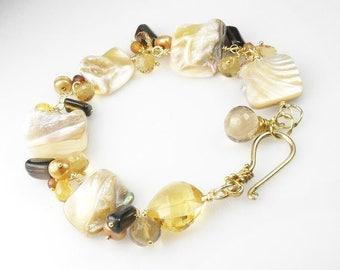 Pearl Citrine Hessonite Quartz Cluster Vermeil Bracelet