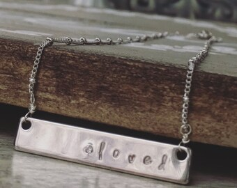 l o v e d - hand stamped silver name plate necklace