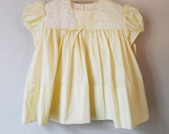 Vintage 60s Girls Yellow Dress with White eyelet Lace by C.I. Castro - Size 12 months - New with tags- Easter Dress