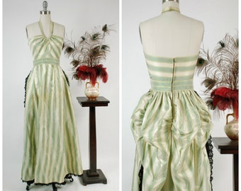 RESERVED ON LAYAWAY Vintage 1940s Gown - Summer 2018 Lookbook - Gorgeous 40s Green Striped Taffeta Halter Gown with Peek a Boo Midriff