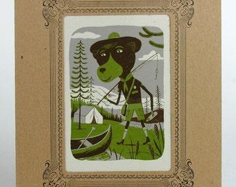 FISHING BEAR Jr RANGER Scout Letterpress Print in a Letterpress Vignette Mat Green and Brown