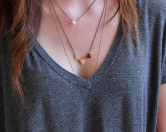 Triangle Layering Necklace Set of 3 • Geometric • Minimalist • Dainty • Delicate • 14k Gold Fill • Herkimer Diamond Necklace • Everyday