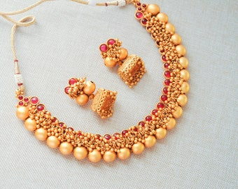 SALE 30% OFF -Antique gold temple matt Kerala necklace red and green kemp stones with jhumkis| Indian Jewelry | Indian kerala temple jewelry