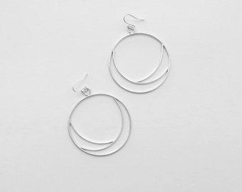 """Silver hoops, hoop earrings, """"Eclipse"""" earrings, sterling silver hoops, handmade hoops"""